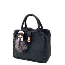 Designer PU Leather font b Handbag b font Cute Cartoon Ornament Knitting Edges Women Fashion Trendy