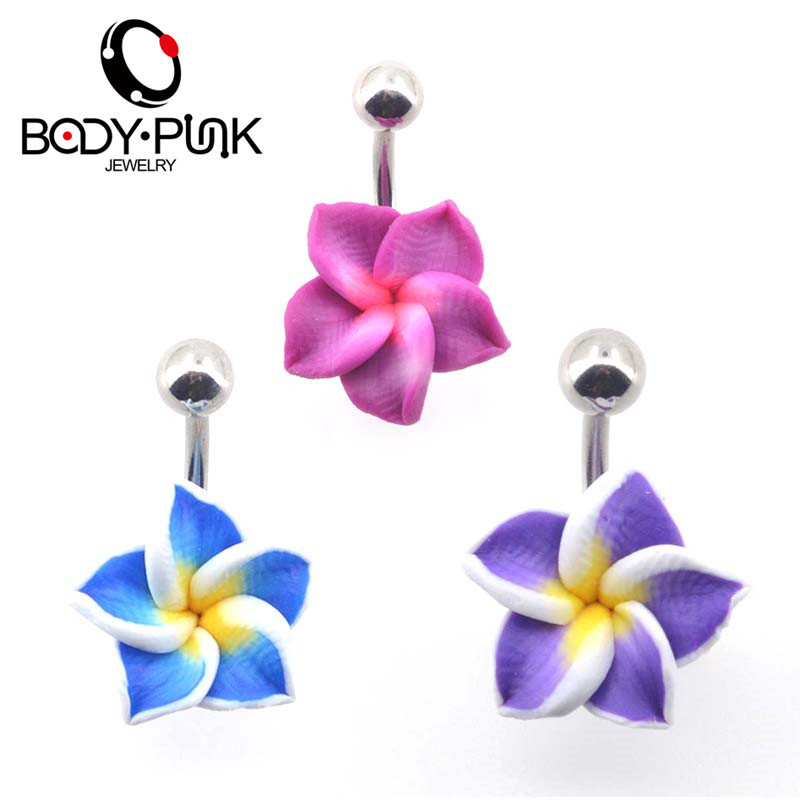 BODY PUNK Belly Button Rings Body šperky Navel Piercing 1 Pc Purple Flower Soft Clay Navel Rings Helix ombligo nombril