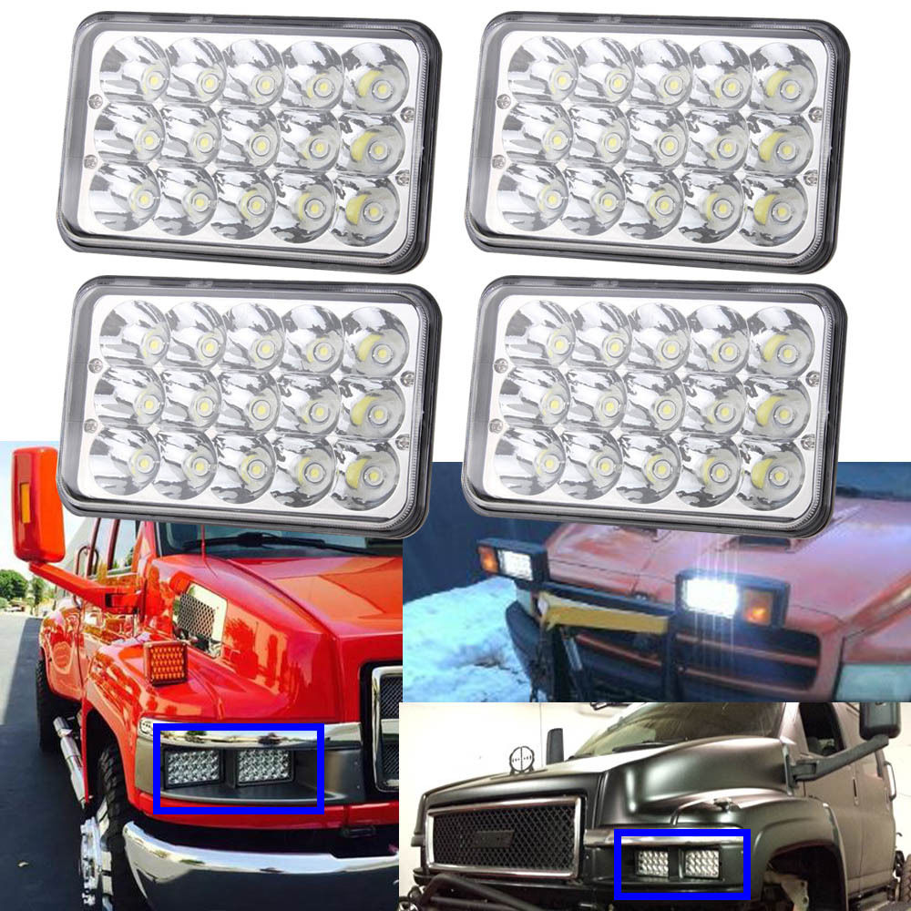 4X6 Inch LED Headlights Rectangular Hi Lo Sealed Beam Bulbs For Kenworth Peterbilt 378 357 379 Pack of 4