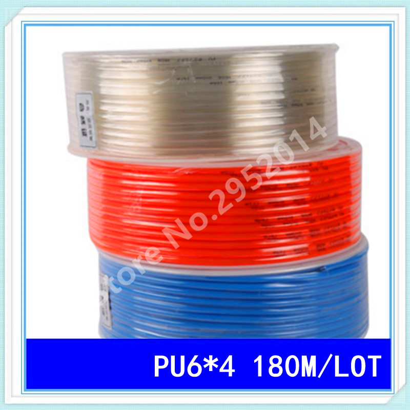 PU6*4 180M/LOT Pneumatic tube pneumatic hose for air pressure hose pipe 6MM OD 4MM ID PU6 1pcs high quality 1 5m cctv cable bnc male video power cable for cctv camera and dvrs black color coaxial cable free shipping