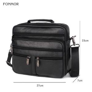 Image 5 - FONMOR Genuine Leather Men Briefcases Fashion Business Tote Bags  Multi layer Shoulder Crossbody Bag Mens Handbags Travel Bag