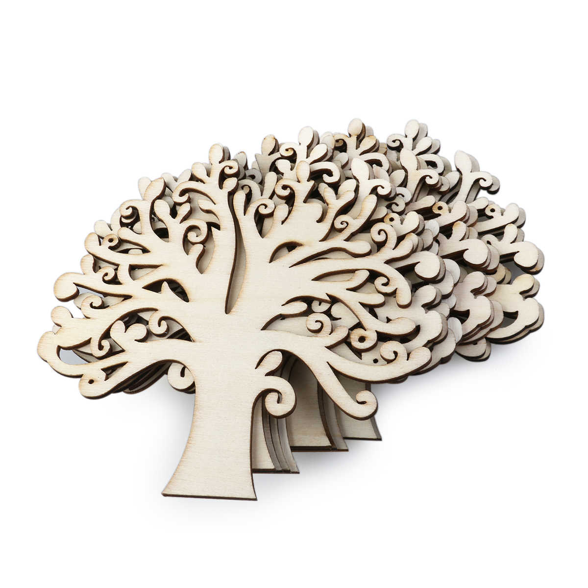 10pcs Blank Wooden Tree Embellishments For DIY Crafts Embellishments For Party Wedding Decoration(Wood Color)