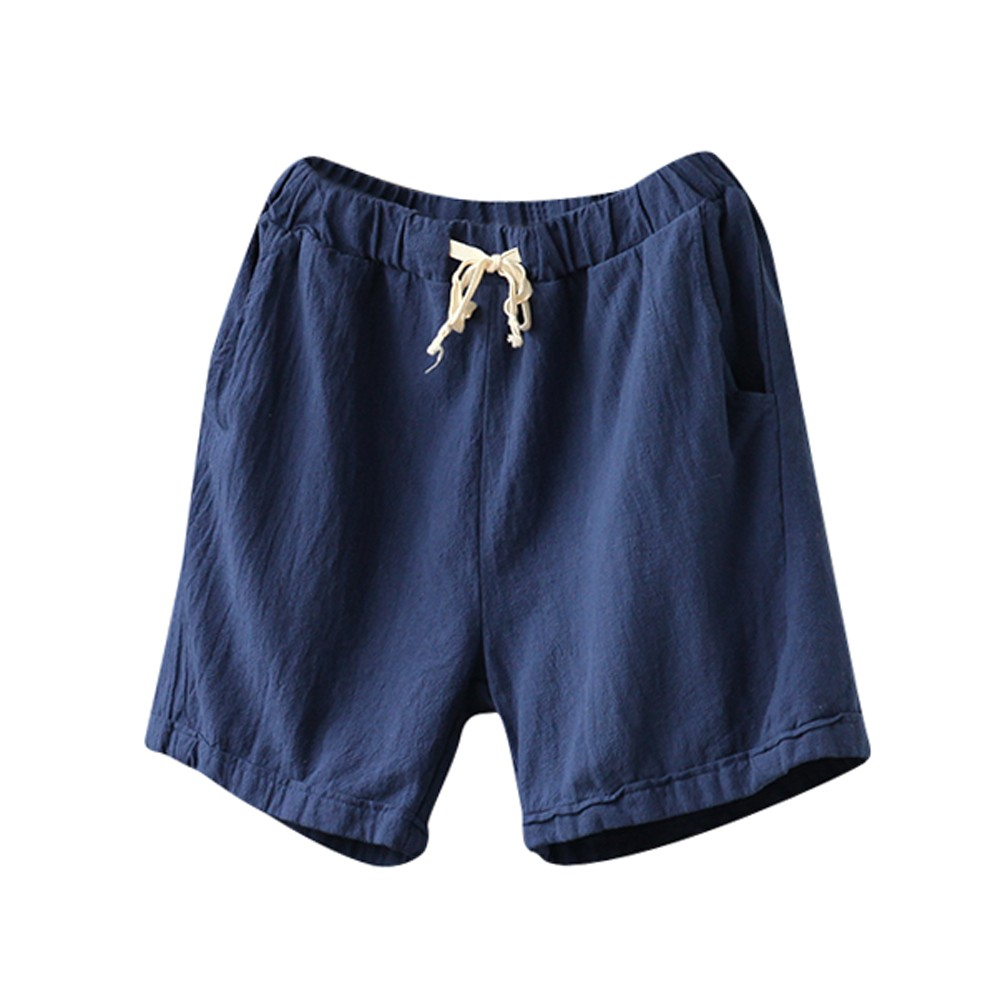 Women Beach Girl Casual   Shorts   Cotton Linen Pants Elastic Waist Summer Slim Lady   Short   Pants Krotkie Spodenki #HHH