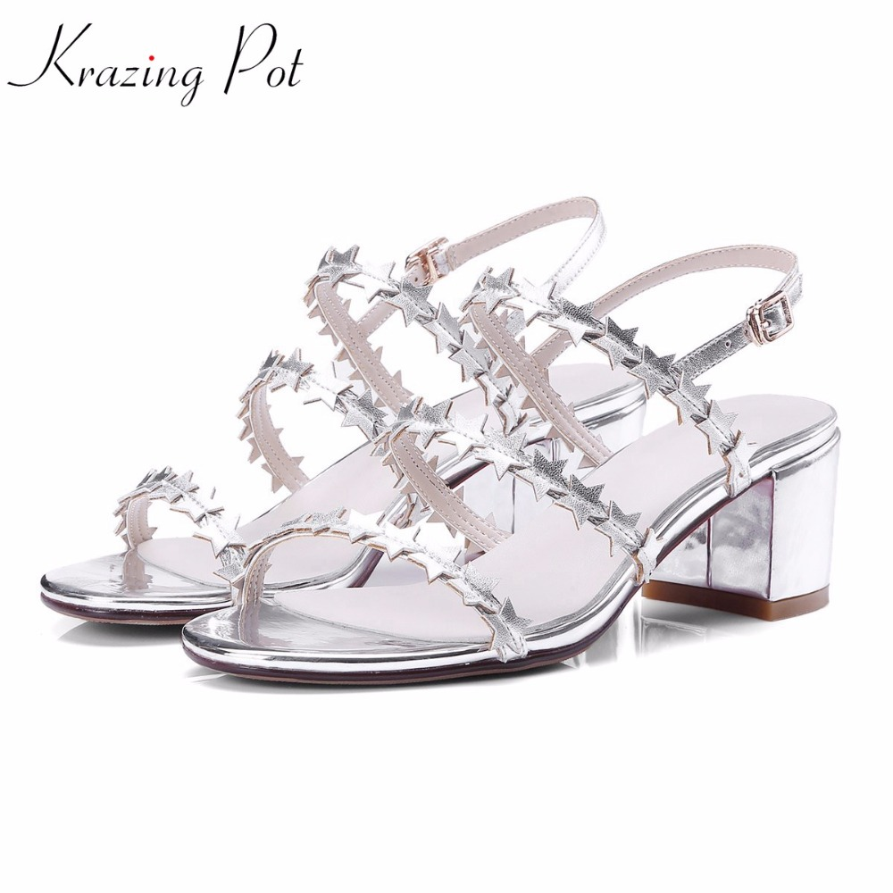 Krazing pot cow leather peep toe ankle straps fashion women square heel sandals five-star decoration high heels summer shoes L83 2018 new popular gladiator style cow leather peep toe ankle straps fashion women med heel sandals summer brand causal shoes l80