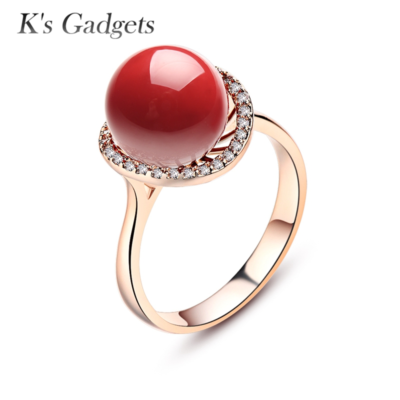 Anel Women Red Artificial Coral Ring Rose Gold Anel De Pedra Vermelha Silver Plated Big Rings Cubic Zirconia Red Rings for Women