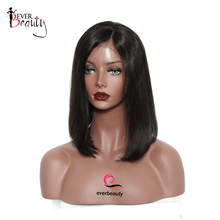 Ever Beauty Short Bob Lace Front Human Hair Wigs Straight Brazilian Non-remy Hair Natural Black Color 180% Density