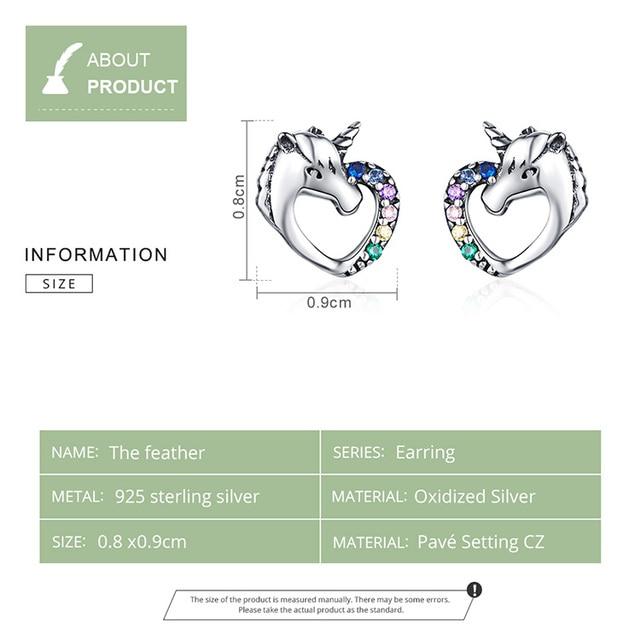 BAMOER Lucky Licorne Stud Earrings horse Ear Studs 925 Sterling Silver Anti-allergy Jewelry  1