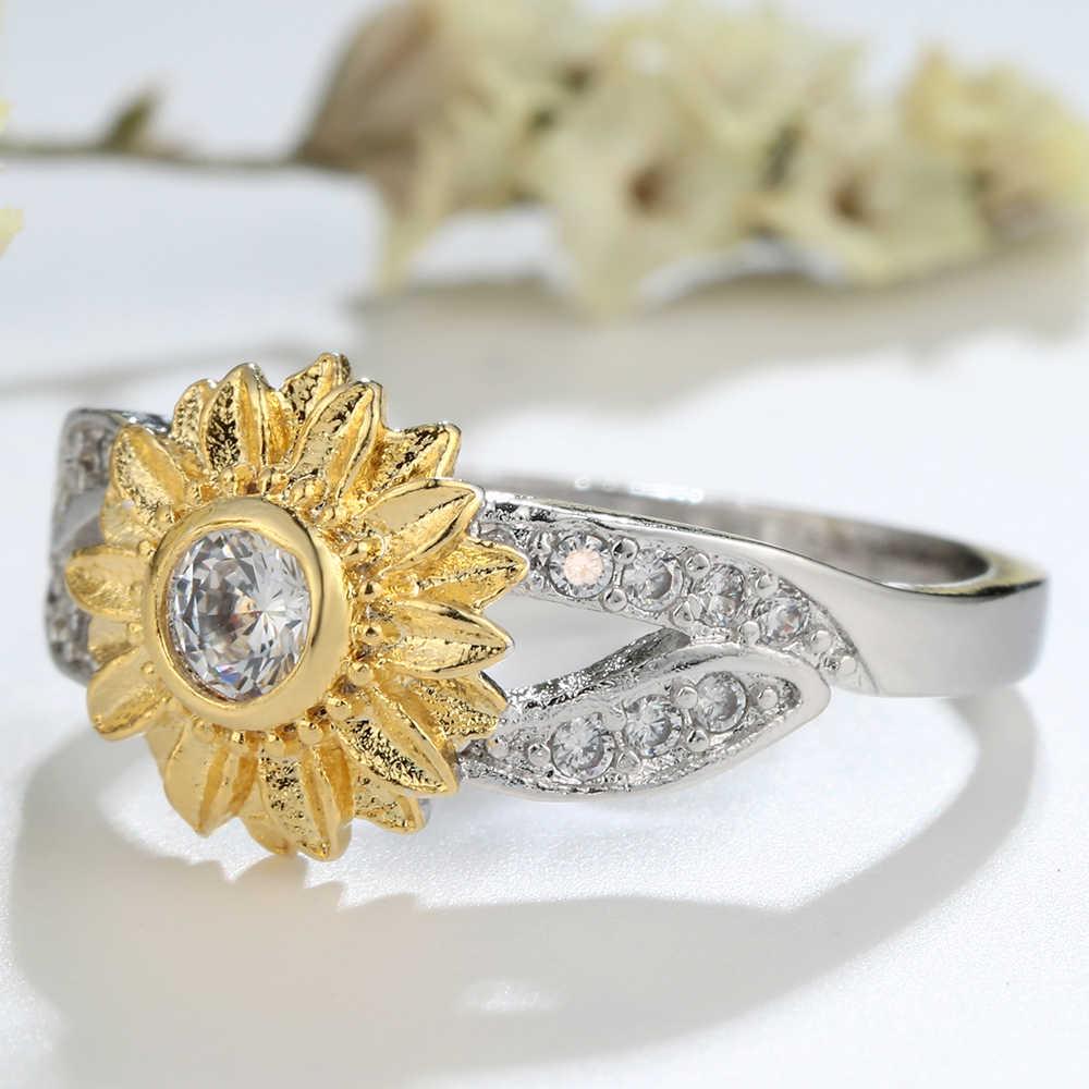 Женское кольцо с фианитом, кольцо золотого цвета с цветком и вставкой в виде растений