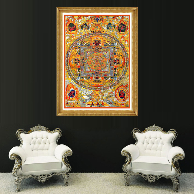 Tibetan Thangka Mandala Art Paintings Mandalas Tibetanos Canvas Printing  Buddha Religion Faith Home Decor Modern Wall