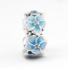 CKK Beads 100% 925 Sterling Silver Primrose Spacer Pale Blue Enamel Charm Fits Pandora Bracelet DIY Jewelry Making