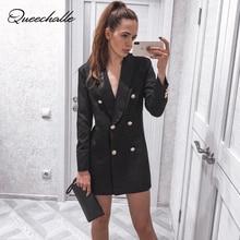 Queechalle осенний Блейзер Пальто женские Формальные рабочая одежда офис леди сплошные блейзеры Для женщин Двойной Брестед зубчатый длинная куртка костюм