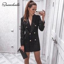Queechalle Autumn Blazer Coat Female Formal Workwear Office Lady Solid