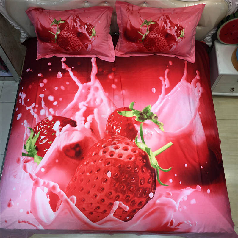Strawberry Printed bedding Sets Coverlets Cotton Bed Duvet Covers Adults Girls Bedroom Decor Full Queen size Woven Red Color 4PCStrawberry Printed bedding Sets Coverlets Cotton Bed Duvet Covers Adults Girls Bedroom Decor Full Queen size Woven Red Color 4PC