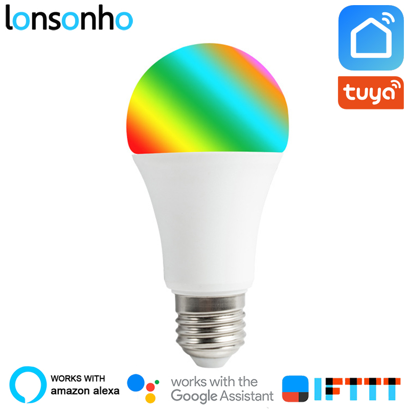 Lonsonho E27 RGB Wifi Smart Light Bulb Lamp 7W 9W Tuya Smart Life Wireless Remote Control