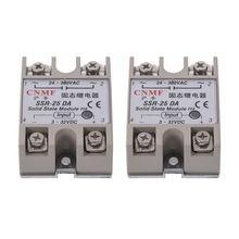 цена на 2PCS Solid State Relay SSR-25DA 25A /250V 3-32V DC Input 24-380VAC Output