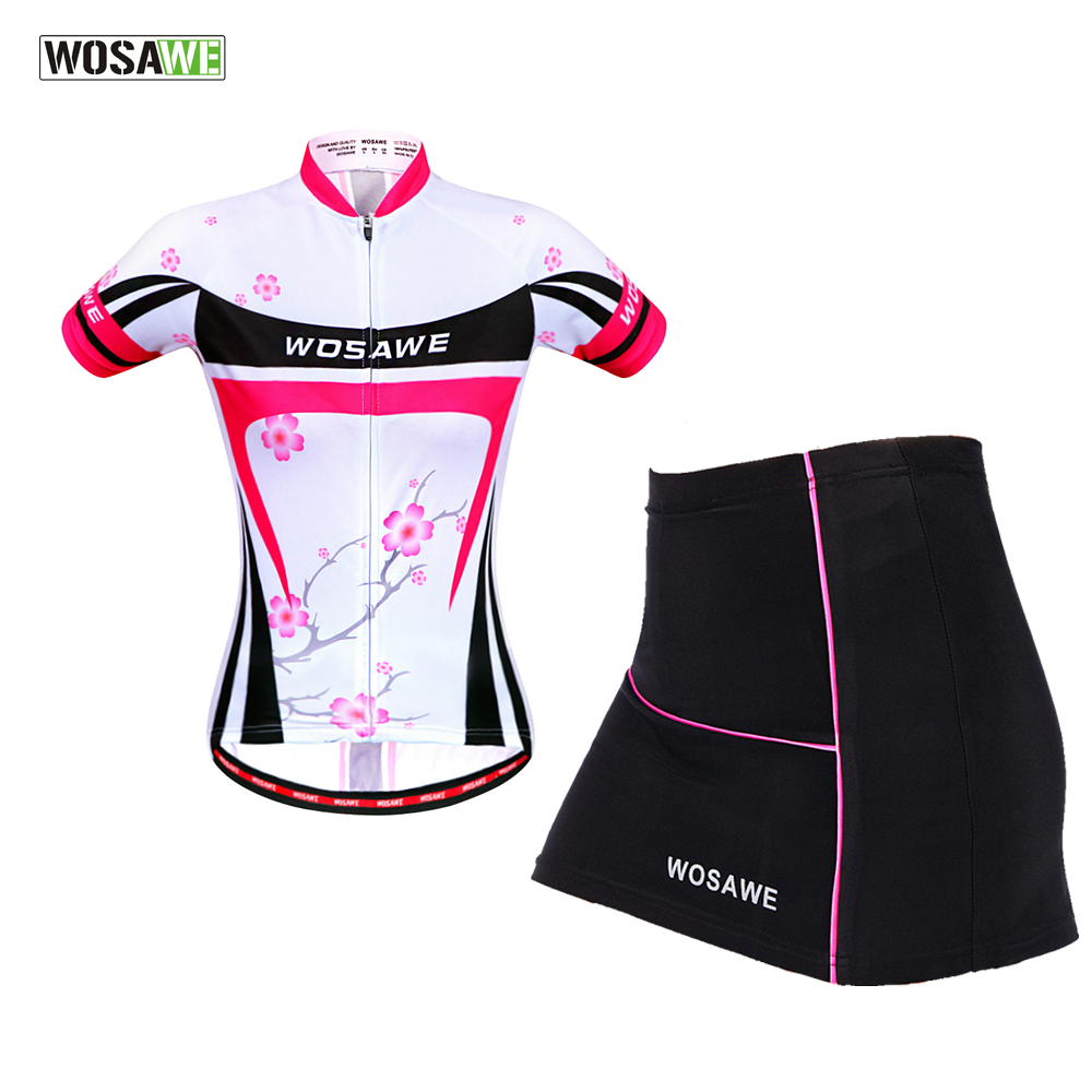 WOSAWE Female Mini Skirt + Shirt Ropa Ciclismo Cycling Jersey Sets Breathable MTB Bike Clothing Short sleeve clothes