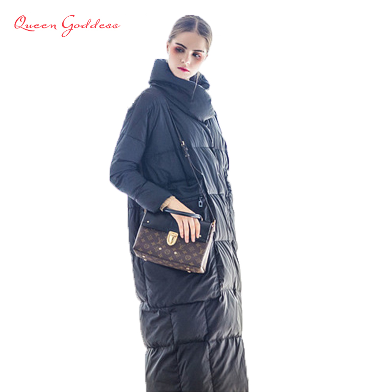 2018 Original Design super long type special pocket stand dollar 90% white duck down womens winter jacket cocoon style