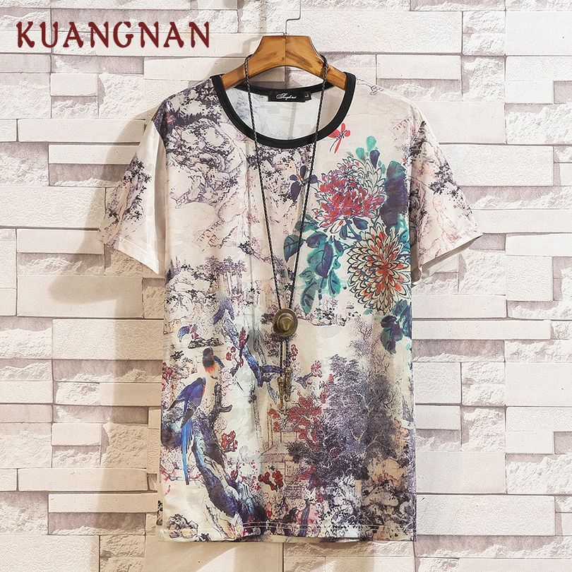 Kuangnan estilo chinês t camisa dos homens harajuku engraçado camiseta masculina streetwear camisa masculina 5xl verão 2019 recém chegados