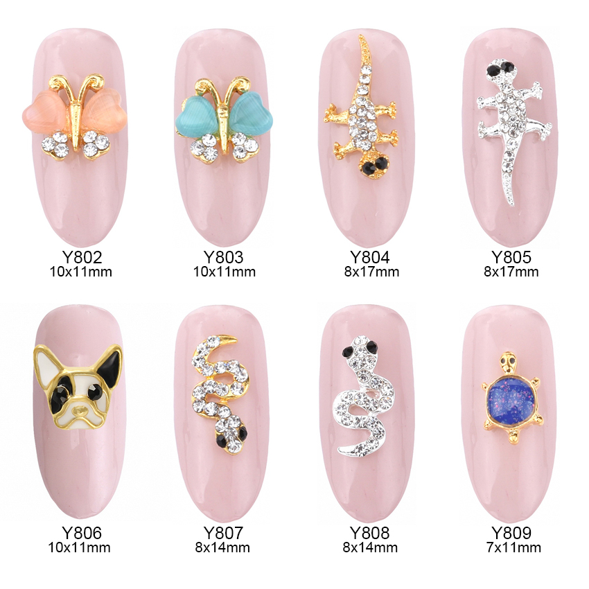 10pcs 3d French Bulldog opal nail art gems butterfly animal design jewelry nails snake decorations new arrive charm Y802~809 2014 new arrive rose flowers nail decorations 7mm 24pcs set 3d alloy charm design manicure nail art accessories