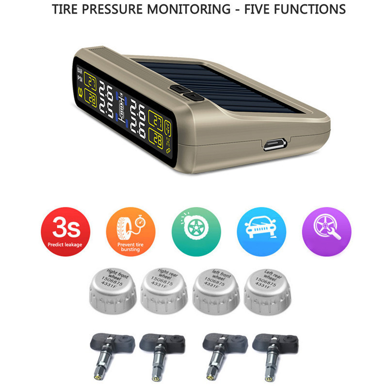 Car Tire Pressure Monitoring System T881 Solar Power TPMS 6 in 1 Accurate monitor Automatic Wireless