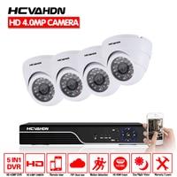 HCVAHDN 8CH CCTV Security Camera System HD 4MP AHD DVR 4PCS 4 0MP Dome CCTV Camera