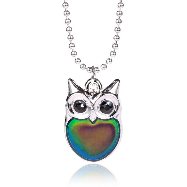 Owl necklace mood necklace for women gifts crystal pendant necklaces owl necklace mood necklace for women gifts crystal pendant necklaces temperature change color nekclace female aloadofball