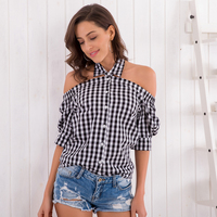 Avodovama M Fashion Casual Off Shoulder Short Sleeve Women Tops Sexy Halter Neck Plaid Blouse Shirts