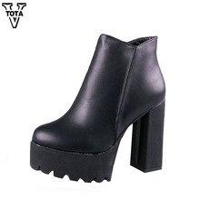 Moda Botas de Las Mujeres Martin Plataforma de Las Mujeres Botas de Alta Calidad Zapatos de Mujer Gruesa con Botas Botines Zapatos de Mujer de Cuero Suave X509