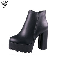 Martin Boots Women High Quality Women Boots Buckle Gothic Shoes Woman Thick With Ankle Boots Free
