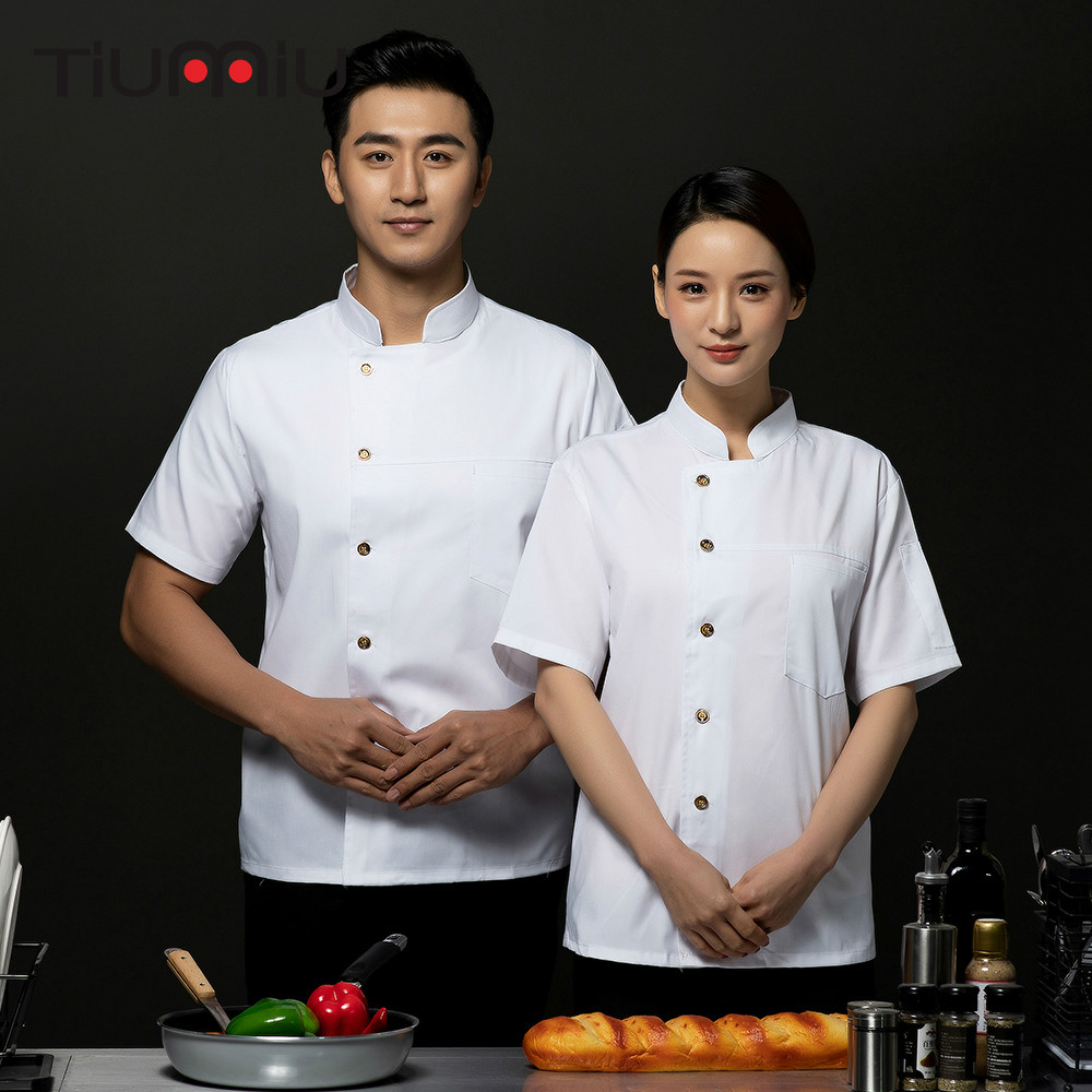 2019 Short Sleeve Chef Cook Jacket Waiter Waitress Hotel Coffee Shop Sushi Restaurant Uniform Summer Work Clothes Coat Shirts