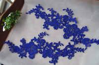 blue lace applique by pairs with retro floral, venice lace applique