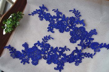 blue lace applique by pairs with retro floral, venice lace applique