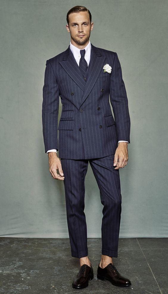 Groomsmen Navy Blue with White Stripe Groom Tuxedos Peak Lapel Men Suits 2 Pieces Wedding Best Man ( Jacket+Pants+Tie ) C610