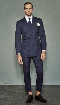 Padrinos de boda azul marino con rayas blancas novio esmoquin pico solapa hombres trajes 2 piezas padrino de boda (chaqueta + Pantalones + corbata) C610