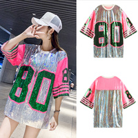 7Mang 2019 Summer Streetwear Sequins T Shirt Women Short Sleeve Pink Party Glitter Loose Punk Club Harajuku Tshirt 0408