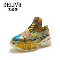 Delivr Platforms Casual Women Shoes Lace Up Graffiti Fashion Thick Sole Luxury Ladies Sneakers High Top Chaussures Femme 2019