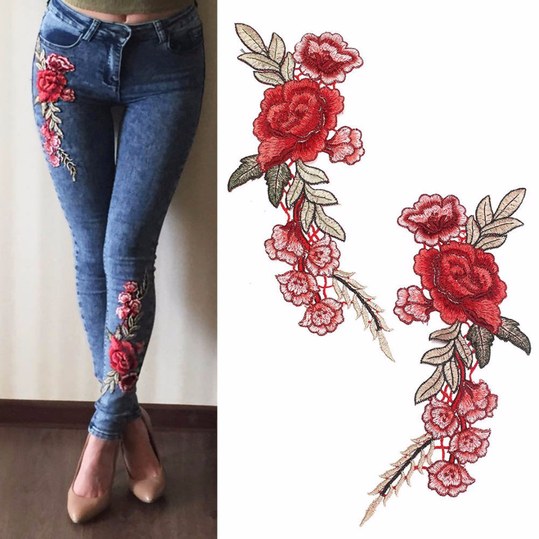 1 Pair Embroidery Rose Flower Patches Sew Patch Mayitr Applique