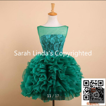 2015 Cheap green Lace ruffled Cocktail Dresses Sexy sheer back informal Short cocktail gowns Vestido De Festa