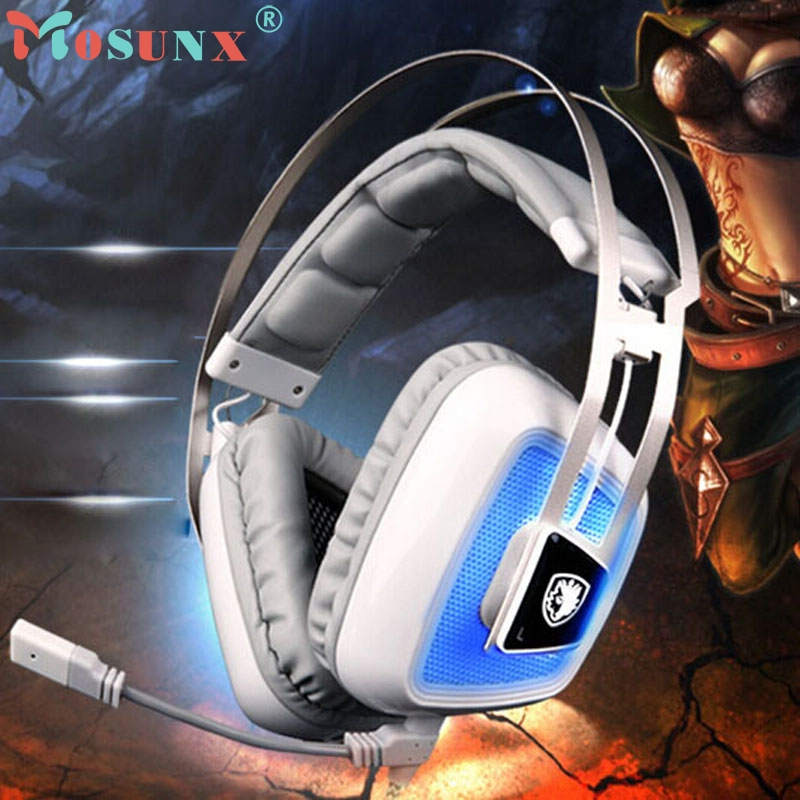 2017 New Sades A8 7.1 Sound Gaming Headset Headband Headphone With Mic For PC High Quality Sports Beautiful Gift Hot_KXL0714 factory price binmer sades 7 1 surround sound bass headband gaming headset cobra design jy29 drop shipping
