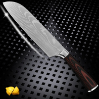 7 Inch Santoku Knife Color Wood Handle Stainless Steel Blade Kitchen Knife Damascus Veins Cooking Tools