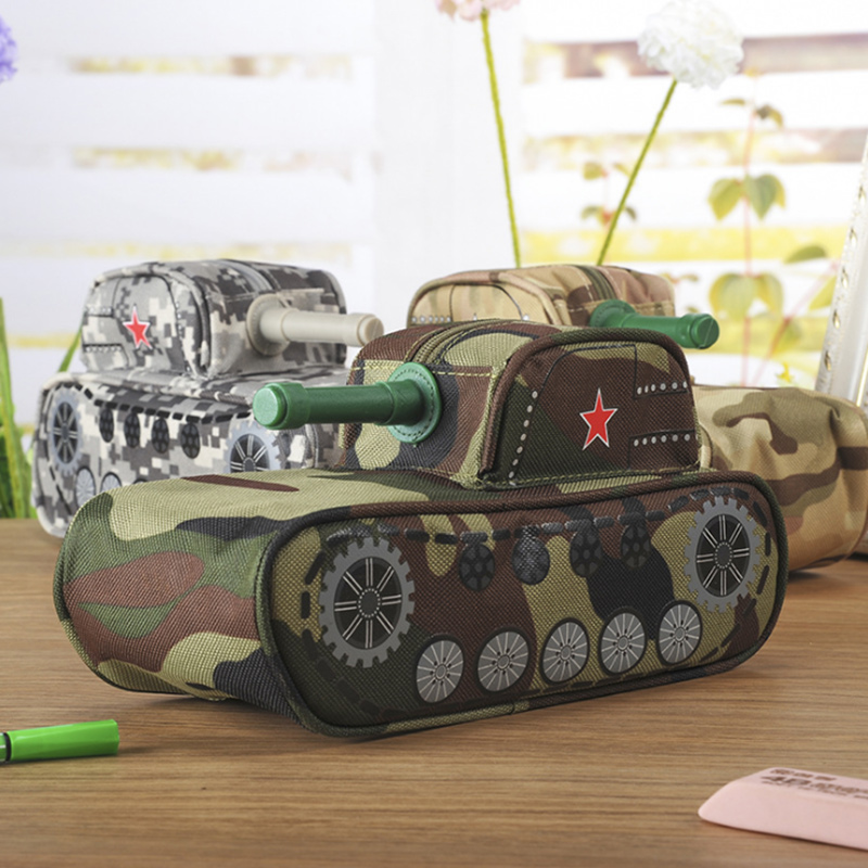 Creative Tank Modeling pencil case large capacity canvas pencil bag Cool stationery school supplies Cosmetic bag with Code Lock