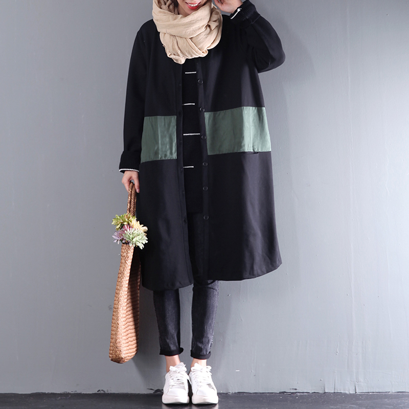 2017 female spring and autumn plus size cardigan loose trench single breasted color medium long block