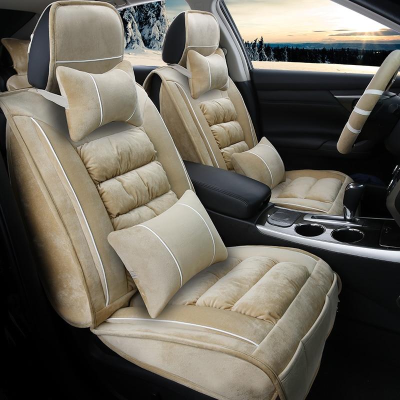 3D Winter Plush Car Seat Cover Cushion For Cadillac ATS CTS XTS SRX SLS Escalade,High-fiber Leather,,Car Styling
