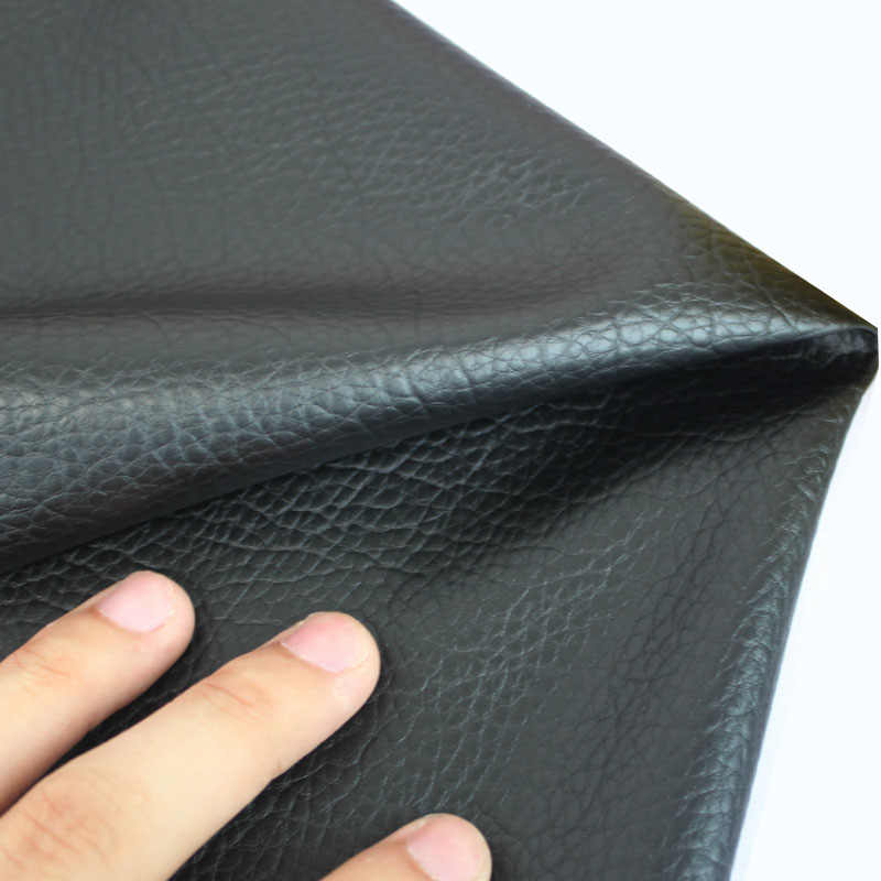 Faux Leather Fabric Black  Litchi Grain PU Leather Material For Handmade Purse Textile Decoration Craft