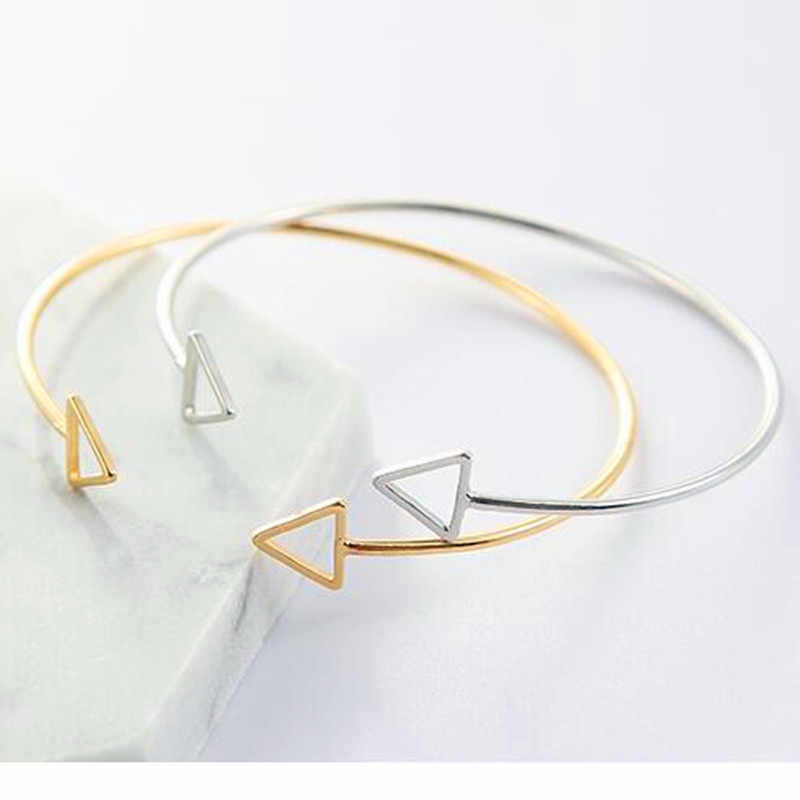 Hot Japan and Korea Simple Style Hollow Double  Triangle Square Adjustable Opening Bangles Exquisite Geometric Bracelet