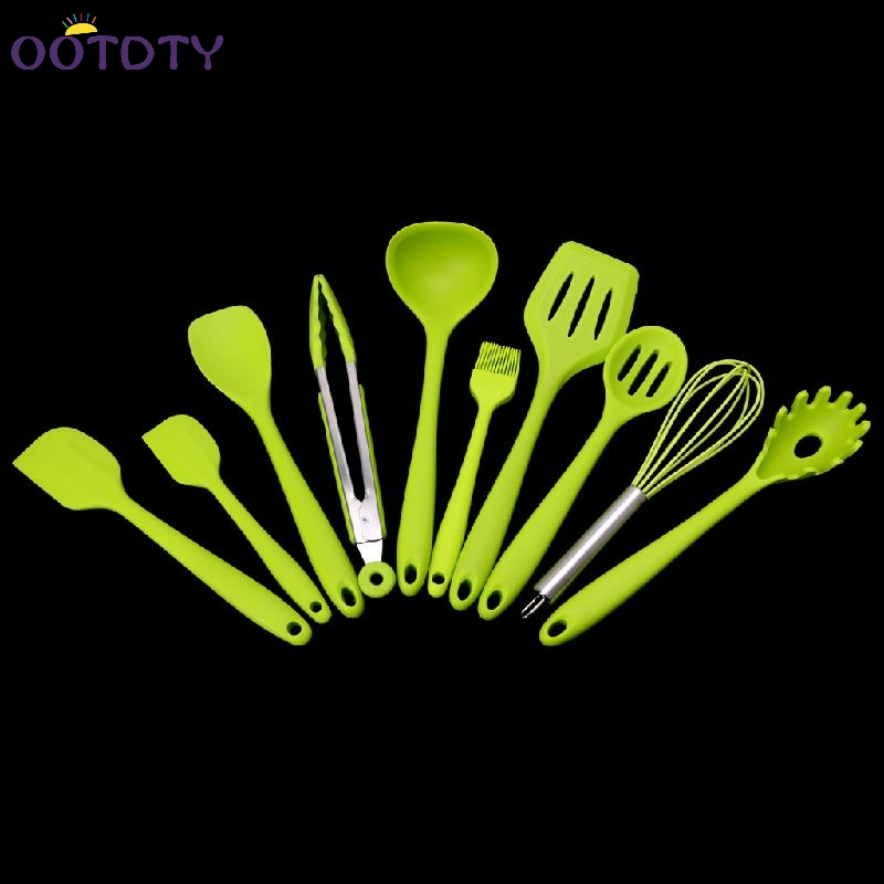 10Pcs/Set Heat Resitant Non-stick Silicone Kitchen Utensils Set Cooking Bake Tool