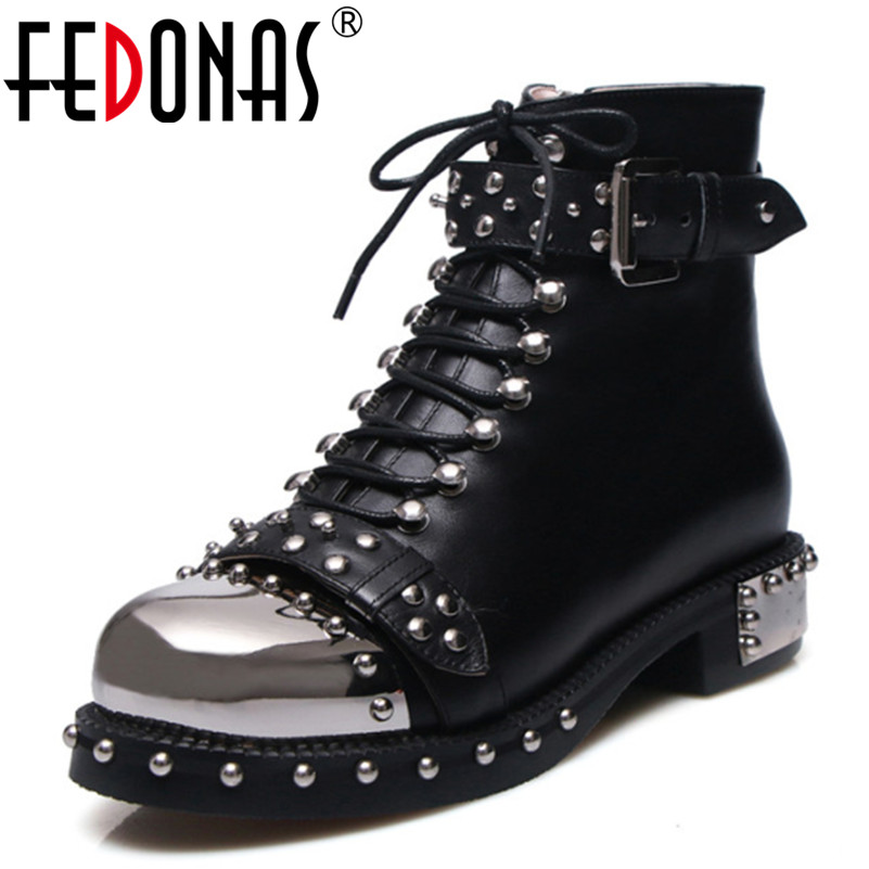 FEDONAS Punk Genuine Leather Boots Women Rivets Square Heels Autumn Winter Ankle Boots Sexy Shoes Woman Motorcycle Snow Boots цены онлайн