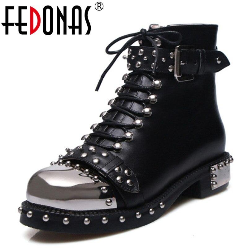 FEDONAS Punk bottes en cuir véritable femmes Rivets talons carrés automne hiver bottines Sexy chaussures femme moto bottes de neige