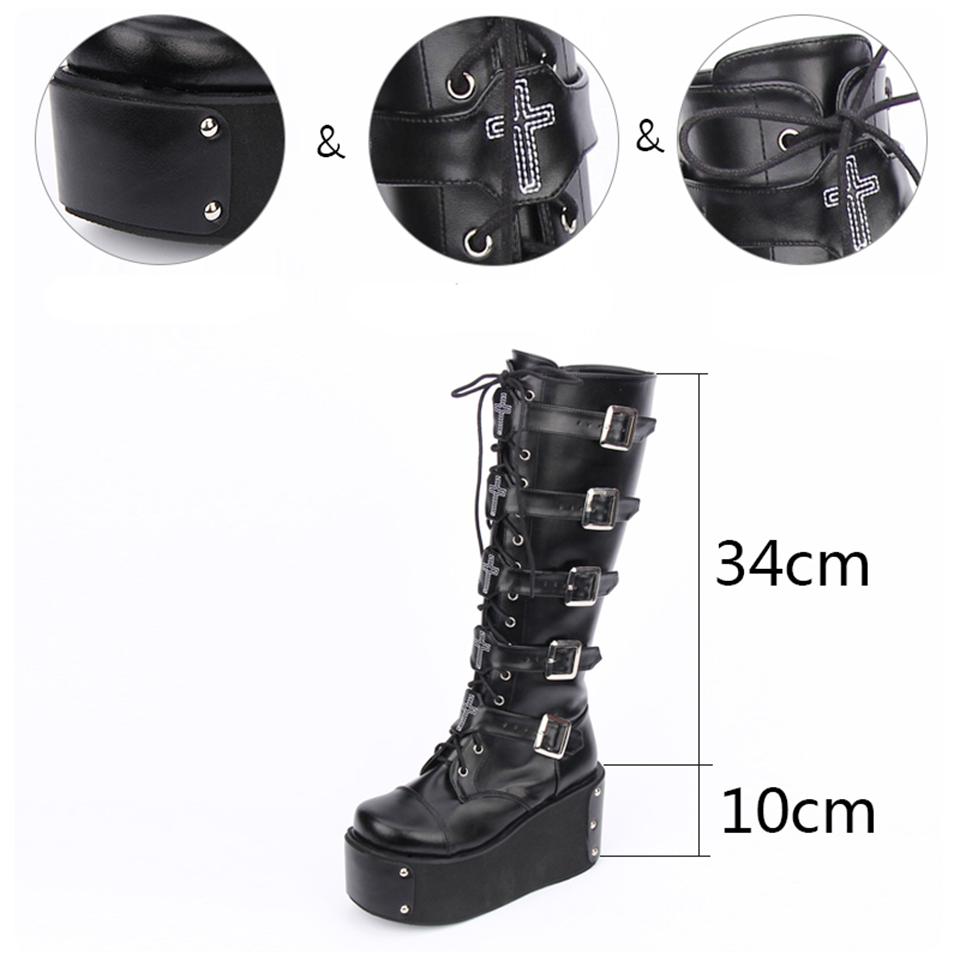 9ebf0c89f96 Knee High Wedge Harajuku Black 12 44 Shoes Belts Women Big Size Lace Up Heel  Gothic Platform Boots Punk Muffin 13 45 Motorcycle