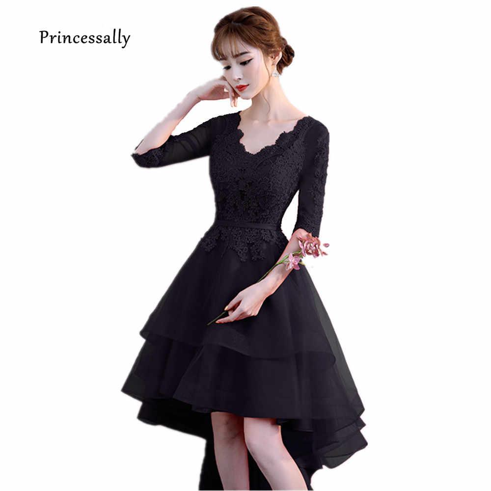 e7d2f12b7b13c New High Low Black Evening Dress One shoulder Lace Cute Simple ...